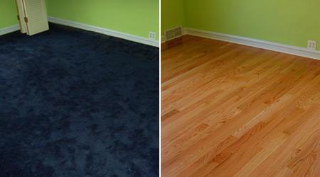 הסרת שטיחים ופרקט לפני ואחרי
